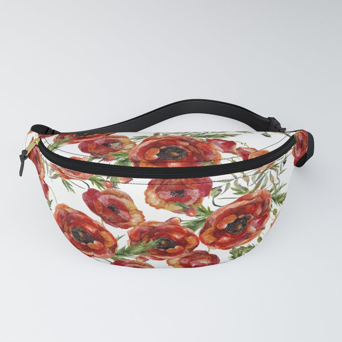 Poppy Pattern On White Background Fanny Pack