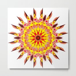 vintage sunflower mandala Metal Print