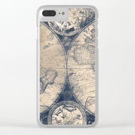 Antique World Map White Gold Navy Blue by Nature Magick Clear iPhone Case