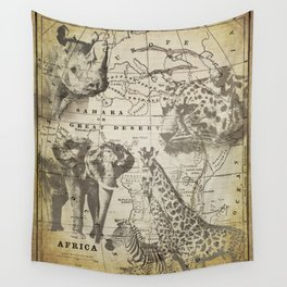 Out of Africa vintage wildlife art Wall Tapestry