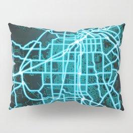 Shreveport, LA, USA, Blue, White, Neon, Glow, City, Map Pillow Sham