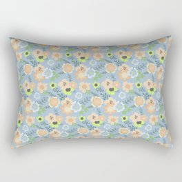 Modern coral pastel blue lime green floral illustration Rectangular Pillow