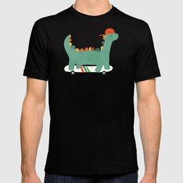 Dinosaur on retro skateboard T-shirt