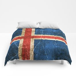 Vintage Aged and Scratched Icelandic Flag Comforters