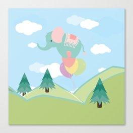 Elephant and Balloons, nursery decor , Canvas Print