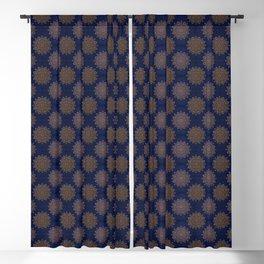 N253 - Indigo Royal Blue Heritage Oriental Moroccan Golden Floral Artwork Blackout Curtain