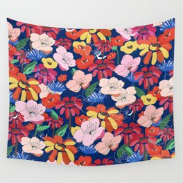 Summer Blooms - Navy Blue Wall Tapestry