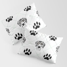 Merle Great Dane Paw Print Pattern Pillow Sham