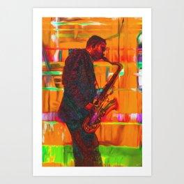 Subway Saxman Art Print