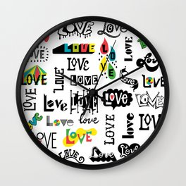 More Love Words Wall Clock