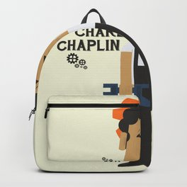 Modern Times, Charlie Chaplin, minimal movie poster, classic film, Charlot playbill Backpack