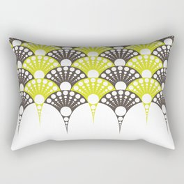 polka dotted fan pattern in brown and lime Rectangular Pillow