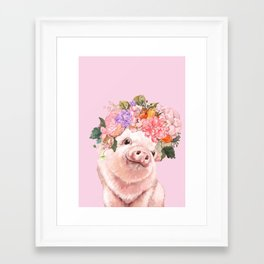Baby Pig with Flowers Crown Framed Art Print