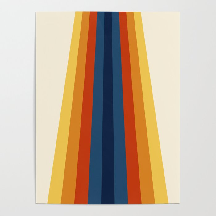 Bright 70's Retro Stripes Poster