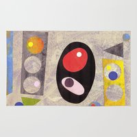 50s Area & Throw Rugs featuring Atomic 50s 60s Inspired Retro Collage Abstract Pink by Beatrice Roberts