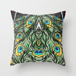 Peacock Warrior Throw Pillow