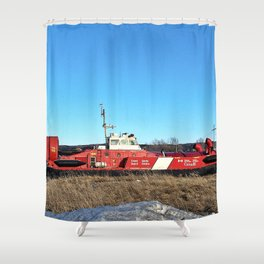 Hovercraft in Town Shower Curtain