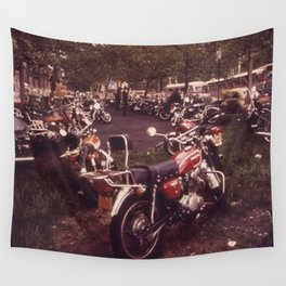 Parked Motorcycles Vintage Photograph Wall Tapestry