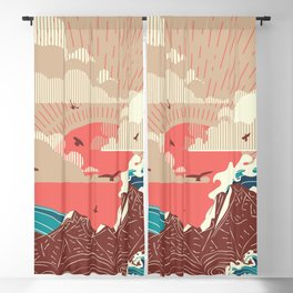 Stylized big waves of ocean or sea at sunset landscape Blackout Curtain