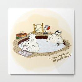 Polar Bear Hot Tub Metal Print