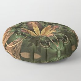 Beautiful Filigree Oxidized Copper Fractal Orchid Floor Pillow