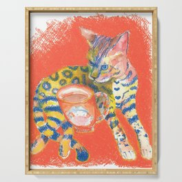 Bengal Cat and Coffee, drawing, wake up Serving Tray