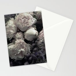 Peonies pale pink and white floral bunch Stationery Cards