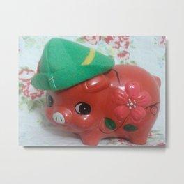pig wth green hat Metal Print