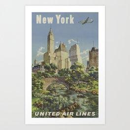 New York, United Airlines - Vintage Travel Poster Art Print