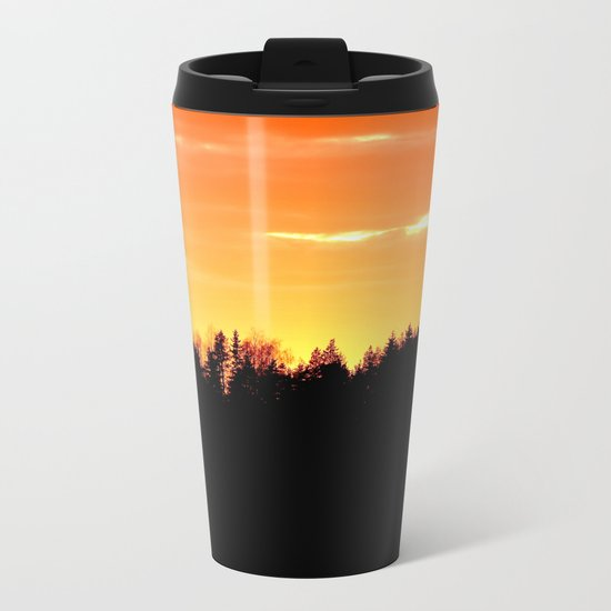 Forest Silhouette In Sunset Metal Travel Mug