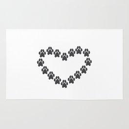 Paw Prints Heart Rug