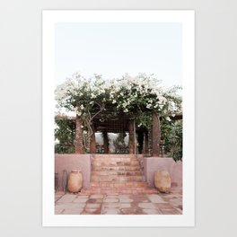 White flowers on a Marrakech terrace | Morocco | Travel photography wall art print Art Print
