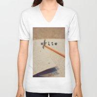 write V-neck T-shirts featuring write by KimberosePhotography
