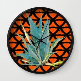 CUMIN ORANGE BLUE DESERT AGAVE CACTI ART Wall Clock