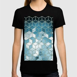 Shades Of Turquoise Blue Cubes Pattern T-shirt