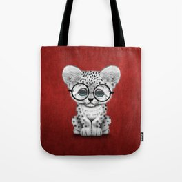 Cute Snow Leopard Cub Wearing Glasses on Deep Red Tote Bag