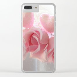 Shabby Chic Romantic Pink Whte Roses Hearts Floral Decor Clear iPhone Case