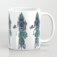 spaceship Mugs featuring Spaceship  by Joseph Kennelty