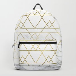 Gold Geometric Marble Deco Design Backpack