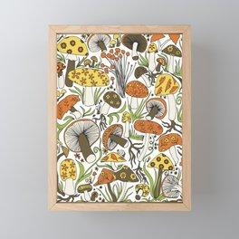 Hand-drawn Mushrooms Framed Mini Art Print