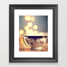 Blue and Gold Steaming Cup Framed Art Print