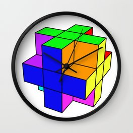Abstract coloured cube Wall Clock