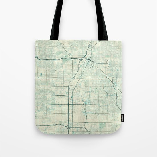 Las Vegas Map Blue Vintage Tote Bag