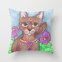 Absynian Cat Art Throw Pillow