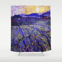 Lavender Fields with Rising Sun by Vincent van Gogh Shower Curtain