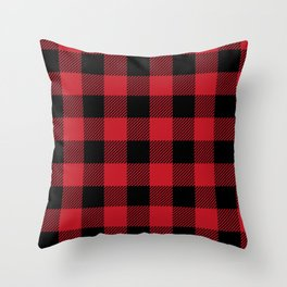 Classic Red and Black Buffalo Plaid Throw Pillow