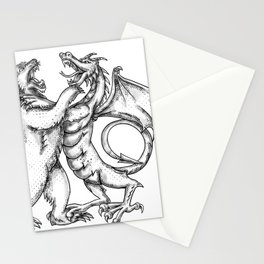 Grizzly Bear Fighting  Chinese Dragon Tattoo Stationery Cards
