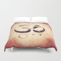 india Duvet Covers featuring Om India by Eva Nev