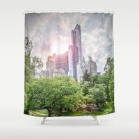 central park Shower Curtains featuring Central Park Dreams by MikeMartelli