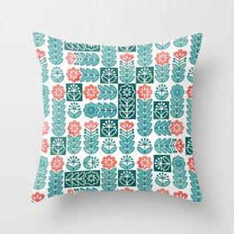 Swedish folk flowers in green Throw Pillow